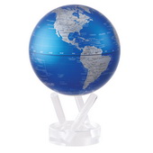 4.5in Dia MOVA Globe - Cobalt Blue and Silver