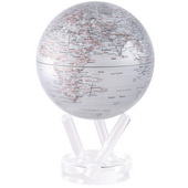6in Dia MOVA Globe - Silver Earth