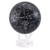 8.5in Dia MOVA Globe - Silver and Black Constellations