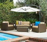 Cane Garden 5 Pieces Outdoor Wicker Conversation Set - FHM1050
