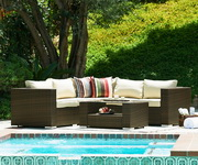 Kessler 4 Pieces Outdoor Wicker Sectional Sofa Set - FHM1040