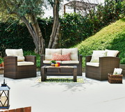 Roatan 4 Pieces Outdoor Wicker Conversation Set - FHM1020