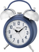 Seiko Darley Bedside Twin Bell Blue Alarm Clock Quiet Second Hand with Dial Light - GSK4994