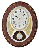 Seiko Melodies in Motion Dark Brown Wooden Wall Clock in High Gloss Piano Finish - GSK4956