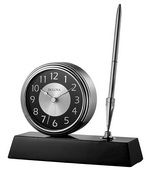 Aqua Pear Deluxe Brushed Silver Clock & Pen Desk Set with Wooden Base by Bulova - GTB31504