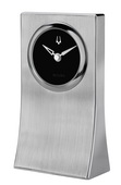 Bulova Sleek Tabletop Clock Crafted In A Solid Block Of Drawn Aluminum - GTB31162