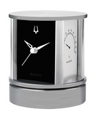 Bulova Rotating Executive Desk Clock Weather Station Solid Brushed Aluminum Base - GTB31159