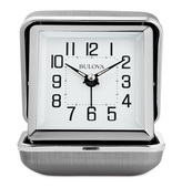 Bulova Brushed-Silver Metal Alarm Clock - GTB31423