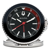 Aqua Pear Deluxe The Diver Travel Alarm Clock Silver Tone Metal in Black by Bulova - GTB31414