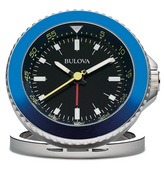 Aqua Pear Deluxe Dive Look Silver Tone Metal in Bright Blue Travel Alarm Clock by Bulova - GTB31411