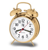 Bulova Table Top Wind Up Alarm Clock Brass - GTB6422