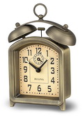 Bulova Metal Case With Antique Bronze Finish Wind Up Alarm Clock - GTB6426
