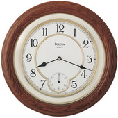 Aqua Pear GTB6632 Deluxe 14in Solid Oak Case Wall Clock Quartz by Bulova