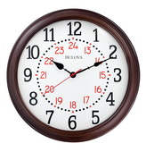 Bulova 15.75in Wooden Quiet Sweep Wall Clock in Espresso - GTB31435