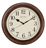 Bulova 16in Quiet Sweep Wall Clock with Solid Oak Case - GTB31444