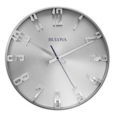 Aqua Pear Deluxe 16in Quiet Sweep Metal Wall Clock with Raised Numerals by Bulova - GTB31447