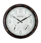 Bulova Deluxe 22in Indoor/Outdoor Metal Wall Clock, Thermometer & Hygrometer - GTB31462