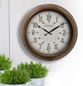 Aqua Pear Deluxe 24in Indoor/Outdoor Wall Clock with Metal Case by Bulova - GTB31465