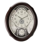 Rhythm 18 Melodies Espresso Wooden Musical Wall Clock Including Holiday Melodies  - GTM2594