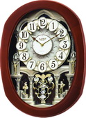Rhythm Deluxe 30 Melodies Wooden Musical Motion Wall Clock Including Holiday Songs - GTM2620