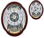 Rhythm Deluxe 30 melodies Woodgrain Marvelous Musical Motion Wall Clock Including Holiday Songs