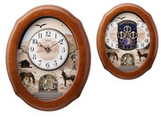 Rhythm Deluxe 30 Melodies Country Musical Motion Wooden Wall Clock Oak Including Holiday Songs