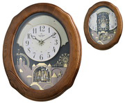 Rhythm Deluxe 30 Melodies Classic Musical Motion Wooden Wall Clock Oak Including Holiday Songs