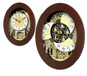 Rhythm GTM2202 Deluxe 30 Melodies Musical Motion Wooden Wall Clock w Holiday Songs