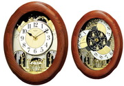Rhythm Deluxe 18 Melodies Wooden Oak Musical Wall Clock Including Holiday Songs - GTM2224