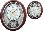 Rhythm Deluxe 30 Melodies Musical Motion Wooden Wall Clock Walnut Including Holiday Songs - GTM2662