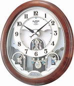 Rhythm Deluxe 30 Melodies Wooden Musical Wall Clock Including Holiday Songs - GTM2636