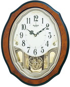 Rhythm GTM2730 Deluxe 30 Melodies Musical Motion Wooden Wall Clock Including Holiday Songs