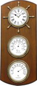 Rhythm Deluxe Thermometer Hygrometer Wooden Wall Clock
