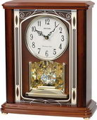 Rhythm 19 Melodies Mahogany Wooden Musical Mantel Clock Including Holiday Melodies - GTM2616