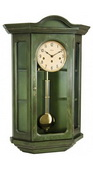 German Hermle Curio Mechanical Wooden Wall Clock Dark Green - JHE2650