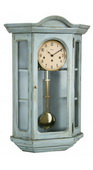 German Hermle Deluxe Curio Mechanical Wooden Wall Clock Light Blue - JHE2656