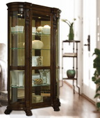 Aqua Pear Berkshire Curio Cabinet Solid Wood in Foxcroft Brown Finish by Pulaski - JPK3020