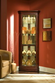 Aqua Pear Sturbridge Deluxe Corner Curio Cabinet in Victorian Cherry Finish  JPK3028