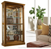 Aqua Pear Gemma Deluxe 43in Wide Curio Cabinet Solid Wood Estate Oak Finish  JPK3038