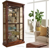 Aqua Pear Heritage 43in Wide Curio Cabinet Solid Wood Medallion Cherry Finish by Pulaski - JPK3040