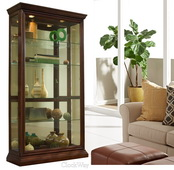 Pulaski JPK3046 Laila Deluxe 43in Wide Curio Cabinet Solid Wood in Eden Brown Finish