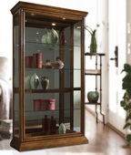 Aqua Pear Manchester Curio Cabinet Solid Wood in Golden Oak Finish by Pulaski - JPK3048