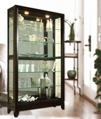 Aqua Pear Bradford Deluxe Two Way Sliding Door Curio Cabinet Chocolate Cherry by Pulaski - JPK3060