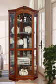 Aqua Pear Naples Corner Curio Cabinet in Medallion Cherry Finish by Pulaski - JPK3062