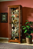 Aqua Pear Sheffield Golden Oak III Two Way Sliding Door Curio Cabinet by Pulaski - JPK3074