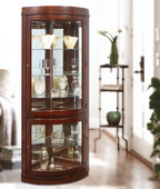 Aqua Pear Moreno Corner Wooden Curio Cabinet in Chocolate Cherry Finish by Pulaski - JPK3086