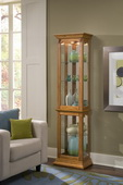 Aqua Pear Deluxe York Designer Curio Cabinet in Oak Finish  JPK3218