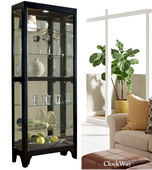 Aqua Pear Sherwood Designer Curio Cabinet in Black Finish by Pulaski - JPK3222