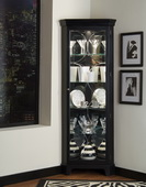Aqua Pear Suzanne Corner Curio in Deep Oxford Black Finish by Pulaski - JPK4476