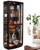 Aqua Pear Oxford Designer Curio Cabinet in Walnut Finish by Pulaski - JPK3224